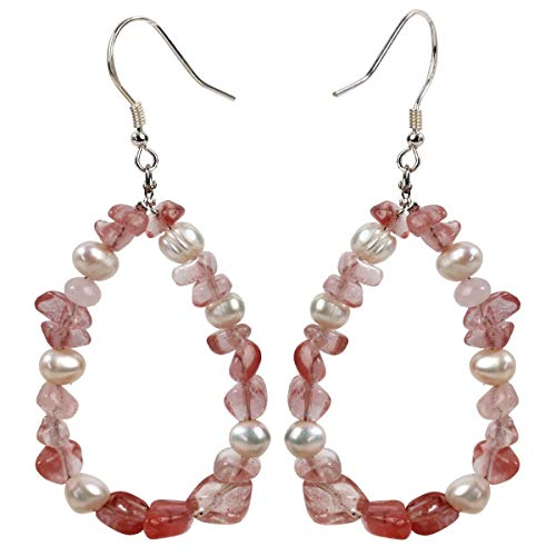 Watermelon-quartz Teardrop of Mermaid 925 Sterling Silver Natural Gemstone Pearl Dangle Earrings Druzy Raw Stone Handmade Soft Pink Healing Geode Rock Hoop Tumbled Drop Jewelry Gift Women Teen - Handmade Pearl Dangling Earring