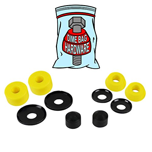 Skateboard Truck Rebuild Kit Bushings Washers Pivot Cups for 2 Trucks (Yellow) -