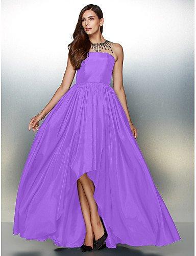Tafetán Crystal Joya amp;OB De Una De Detallando Cuello Con Asimétrica Línea HY De Vestido Formal Lilac Prom Noche zx1ZwqWE