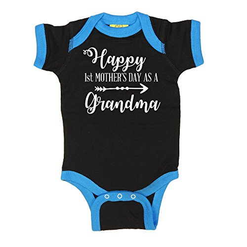 Mashed Clothing - Happy 1st Mother's Day As A Grandma (Arrow) - Mommy Gift Mother's Day - Ringer Baby Bodysuit (Black/Cobalt, 6 Months)