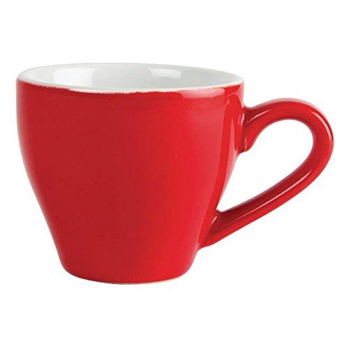 12x Olympia Cafe Espresso Cups Red 100ml 3.5oz Porcelain Coffee Milk Jugs Nisbets 22334