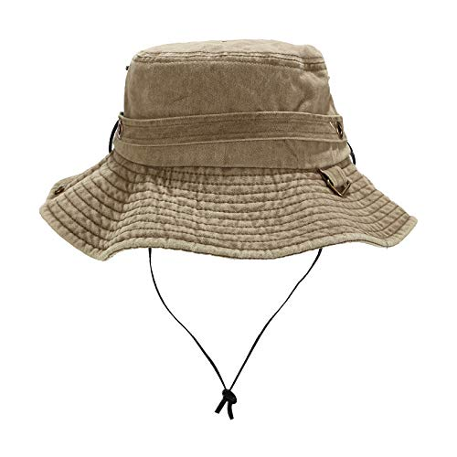 QIQIU Hats, Unisex 2019 New Womens Mens Bucket Boonie Solid Fishing Fashion Outdoor Sun Protection Beach Sun Hat Khaki