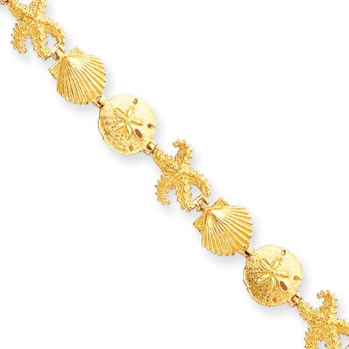14k Yellow Gold Seashell and Starfish Theme Bracelet - 7.25 Inch ()