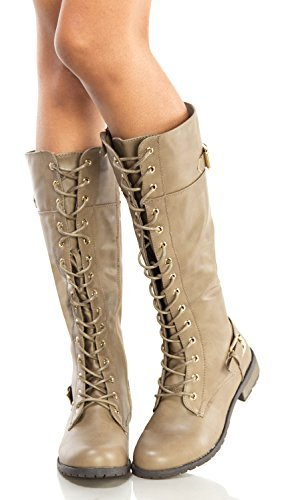 b8e7cce30be OLIVIA K Women s Zipper Buckle Knee High Riding Boots and Round Toe Military  Lace Up Knit