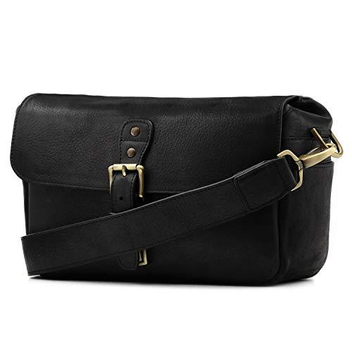 MegaGear Genuine Leather Camera Messenger Bag for Mirrorless, Instant and DSLR, Black (MG1331) ()