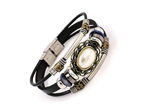 Fariishta Jewelry Handmade Tribal Vintage Gem Beads Leather Wrap Bracelet£¨white£©