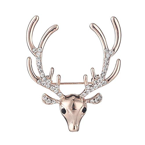 AILUOR Gorgeous Christmas Deer Brooch pin, Fashion Austrian Pink Crystal Pearl Animal Stag Deer Xmas Elk Head Antlers Lapel Pin for Women Men Suit Dress Art Deco Christmas Decoration Gift (Rose Gold)