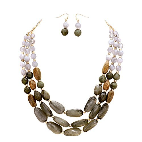 Dance Recital Costumes Rack (Rosemarie Collections Women's Triple Strand Pebble Statement Necklace Earrings Set (Grey))