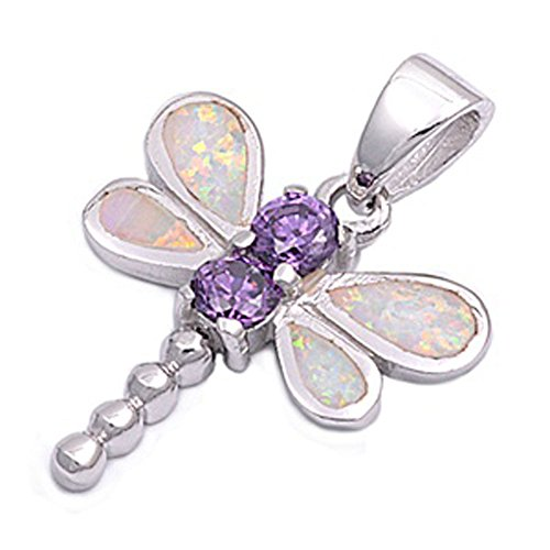 Dragonfly Pendant Simulated Amethyst White Lab Opal .925 Sterling Silver Charm - Silver Jewelry Accessories Key Chain Bracelet Necklace - Sterling Kc Silver Pendant