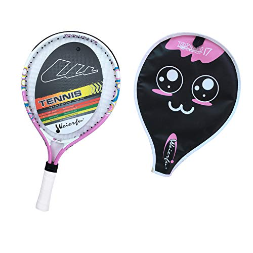 Weierfu Junior Tennis Racket for Kids Toddlers Starter Racket 17 with Cover Bag Light Weight(Strung)(Pink)