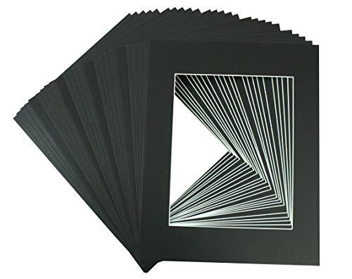 - Golden State Art, Acid Free, Pack of 25 11x14 Black Picture Mats Mattes with White Core Bevel Cut for 8x10 Photo