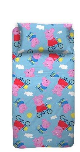 Lenzuola Di Peppa Pig.Peppa Pig Completo Lenzuola Letto Singolo Azzurro Amazon It Casa E