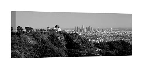 Easy Art Prints Panoramic Images's 'Observatory with Cityscape, Griffith Park Observatory, Los Angeles, California' Canvas Art 36 x 12