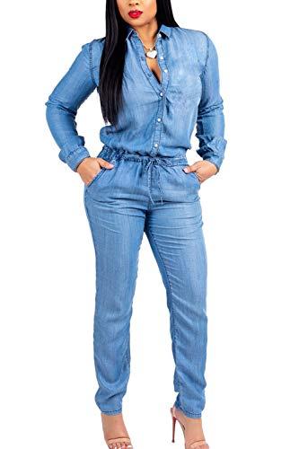 (Fanvans Womens Casual Jumpsuit Long Sleeve Button Down Denim Rompers Blue S)