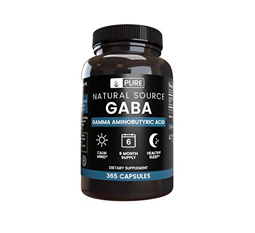 100% All-Natural GABA |365 Capsules |850mg | No Magnesium or Rice Filler, Vegetarian, Gluten-Free, 180-Day Supply, Non-GMO, Made in The US, Undiluted Gamma-Aminobutyric Acid with No Additives