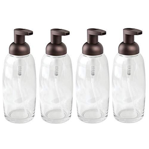 mDesign Modern Glass Refillable Foaming Soap Dispenser Pump Bottle for Bathroom Vanity Countertop, Kitchen Sink - Save on Soap - Vintage-Inspired, Compact Design - 4 Pack - Clear/Bronze