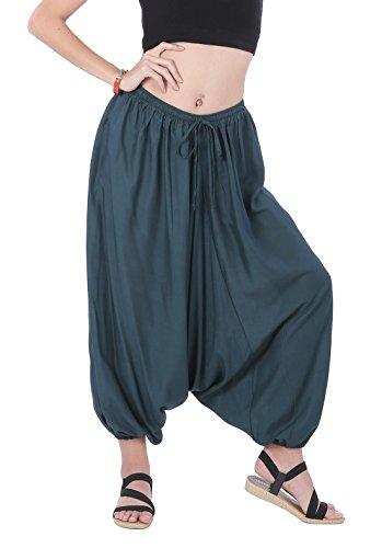 Harem Girl Costume Plus Size (CandyHusky Men Women Baggy Hippie Boho Gypsy Yoga Harem Pants Aladdin Costumes (Teal Green))