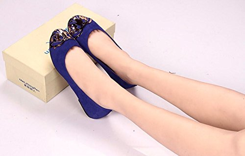 - SFSYDDY Nouveau Bas Et Plat Avec Des Chaussures Chaussures En Cuir Mat Seul Vélin Souliers De Danse à Tête Ronde 38 Bleu
