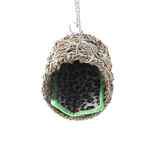 Emours Natural Sea Grass Hammock Play Tunnel Hanging Bed Toy House for Pet Rat Hamster Hanging Play Tunnel