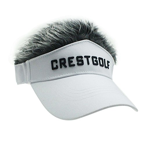Novelty Fake Hair Hat Sun Visor Cap Wig Peaked Adjustable Baseball Hat with Spiked Hair (White with Gray)