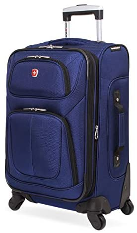 SwissGear Sion Softside Luggage with Spinner Wheels, Blue, Carry-On 21-Inch