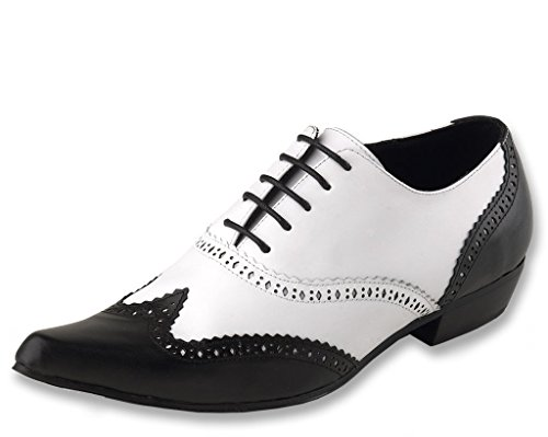 T.U.K. Shoes C2039 Unisex-Adult Dress Shoes, Black & White Brogue Winklepicker - US: Mens 9 / Women 11 for $<!--$39.99-->