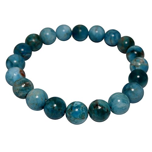Diva Beaded Bracelets (Satin Crystals Apatite Bracelet 9mm Boutique Genuine Blue Gemstone Round Handmade Stretch B01 (6.25))
