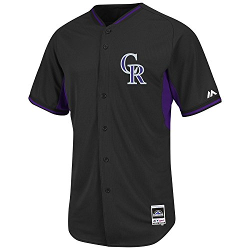 Majestic Colorado Rockies Black BP Cool Base Performance Authentic Jersey ()