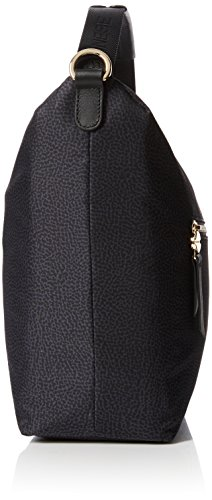 Borbonese Hobo C/T Small - Bolso de hombro para mujer Negro (Nero)