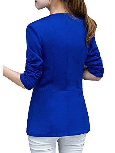 Blazer Long Veste Blouse Blazer Slim Jacket Blazer Longues Manches Bleu Tailleur Xxz8wqW4B