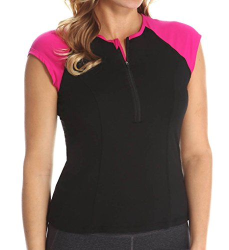 Spanx Active Women's Capped Sleeve Top Black/Pink Pow T-Shirt