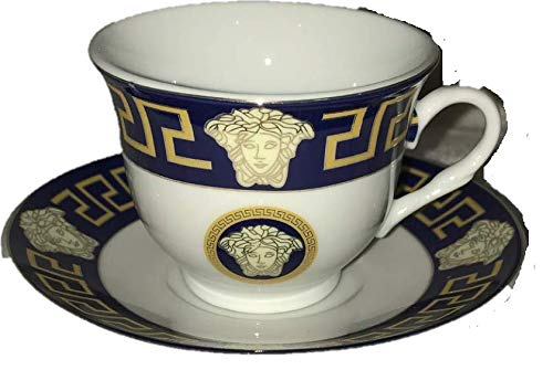 Inspired By Versache Greekk Key 12 Piece Porcelain Espresso Cup & Saucer- Service for 6 Person Gift Boxed-Navy