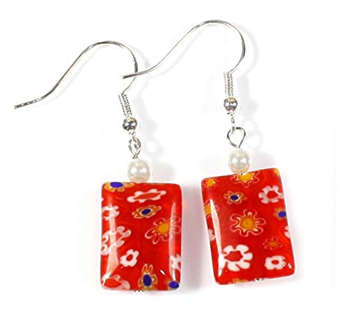 - Millefiori Fun Venetian Millefiori Style Bright Red Earrings, Dangle 1.5 Inches