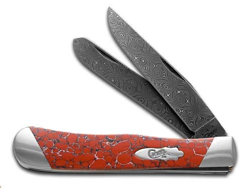 CASE XX Painted Pony Damascus Red Matrix Stone Trapper 1/200 Pocket Knife Knives