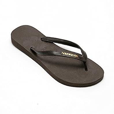 159083143710c6 Havaianas Caffe Brown Gold Logo Slim Elegance Flip Flops Leather Strap  Sandal UK 8 EU 43 44  Amazon.co.uk  Shoes   Bags