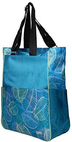 Glove It Women's Tennis Tote Bag Big Fashion Tote Bag for Women - Womens Large Tote Bags with Zipper & Shoulder Strap - 6 Outside Pockets - Ladies Sport Totes - 2019 Aqua Leaf