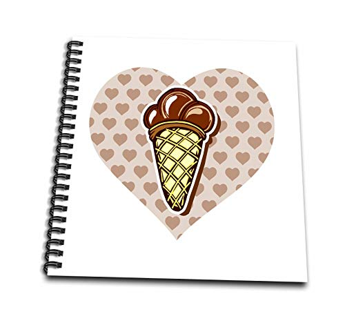 Album 12x12 Chocolate (3dRose Russ Billington Designs - Chocolate Ice Cream Cone Over Heart - Memory Book 12 x 12 inch (db_293752_2))