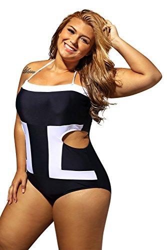 LittleLittleSky Womens Sexy Halter Contrast White Detail Cutout Bandeau One Piece Plus Size Swimwear Swimsuit ((US 14-16)XL)