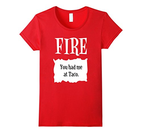 Womens Halloween Costume T Shirts - Fire Hot Sauce Packet Taco Tee Small Red