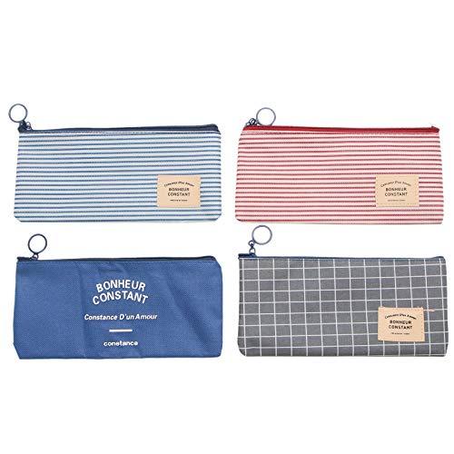 WSSROGY 4 Pcs Stripe Canvas Pencil Holder Organizer Pencil Case Makeup Cosmetic Bag Zipper Coin Pouch for Kids Adults Girls Boys