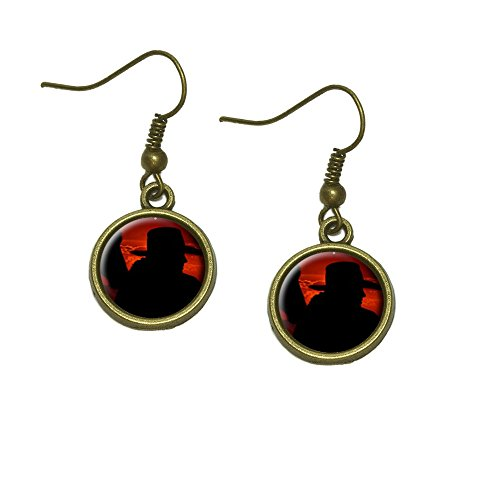 Cowboy with Horse Silhouette Dangle Dangling Drop Earrings