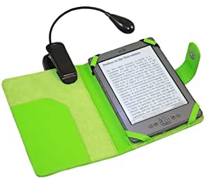 "iTALKonline PadWear GREEN Executive BOOK Wallet Case Cover Shield Slot with Flexible Neck Clip On LED White Reading Light for Amazon Kindle 4 (4G) Global Wireless 3G, Kindle 5 (2012) 6"" 6 inch 2011 Model"