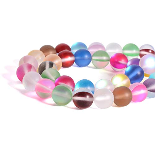 (Strand 6mm Matte Glass Rainbow Gradient Beads - LONGWIN Approx 62pcs Aura Iridescent Moonstone Round Glass Beads Jewelry Making Supply with Organza Bag for Bracelet Making)