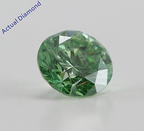 Diamant Rond taillés (0.72 Ct, Olive Vert(Irradé) Couleur,SI2(ClarIty Enhanced) Clarté)