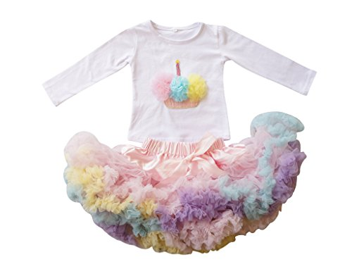 PoshPeanut Toddler Baby Girls' Summer Pink Cupcake Birthday Outfit, Long Sleeve (6 to 12 months, Rainbow)