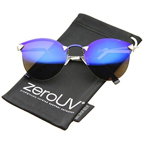 zeroUV - Womens Fashion Lightning Stepped Zigzag Temple Mirror Lens Rimless Cat Eye Sunglasses (Blue / - Lightning Sunglasses