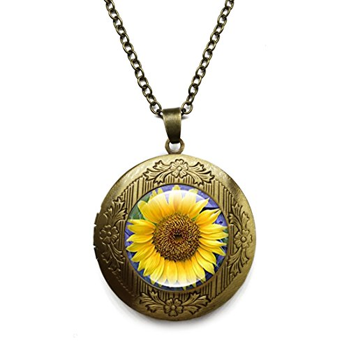 Vintage Bronze Tone Locket Picture Pendant Necklace Sunflower Included Free Brass Chain Gifts Personalized