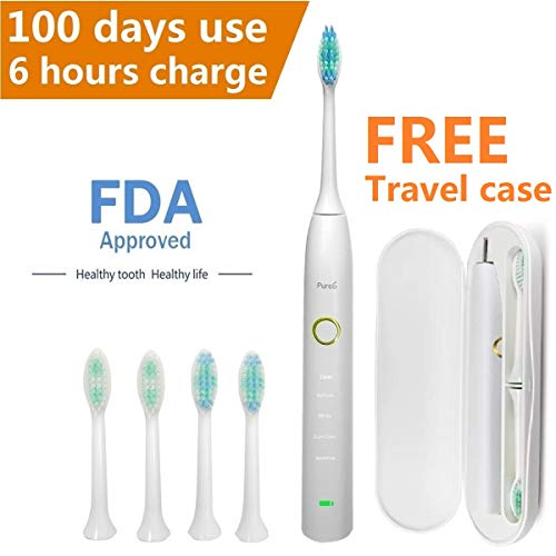 Sonic Electric Toothbrush Travel Rechargeable for Superior Dental Hygiene Daily Clean, Gum Care, Sensitive, Whitening, and Deep Clean Oral Health Micropulse Bristles with 4 Replacement Heads - Black