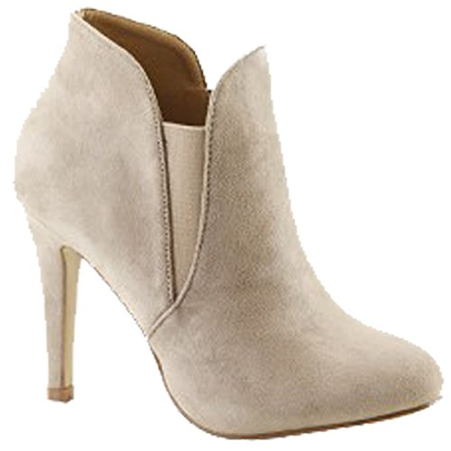 Soft Toe Out Round Lt Cut Taupe Women's Booties Bella Stiletto Marie Elastic fFxwOqOIE