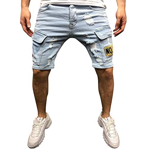 LUCAMORE Men's Casual Shorts Jeans Straight Ripped Hole Trousers Distressed Pants with Pocket Light Blue